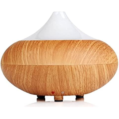 HR Aroma Diffuser 300ml Wood Grain Essential Oil Diffuser Aromatherapy Diffuser Ultrasonic Cool Mist Humidifier with Waterless Auto Shut-off Function, 7 Color Changing LED Lights and 4 Settings for Timer for Baby Room, Home, GYM, Bath Room, Classroom, Bedroom, Office, Spa ,Yoga (Legna leggera)