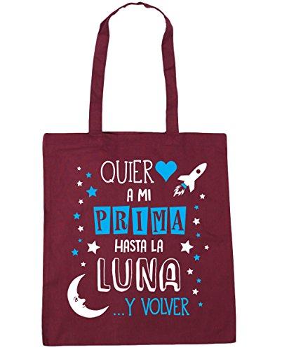 HippoWarehouse ¡Quiero a mi Prima hasta la Luna y volver! (Azul) Bolso de Playa Bolsa Compra Con Asas para gimnasio 42cm x 38cm 10 litros capacidad