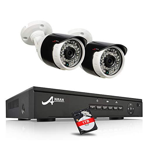 ANRAN 1080p POE Video Überwachungskamera Set mit 4Channel POE NVR, 2 wetterfeste Indoor & Outdoor 1080P HD Kameras, 1TB Festplatte, Plug & Play, Nachtsicht, Bewegungserkennung Business-dvr Security System