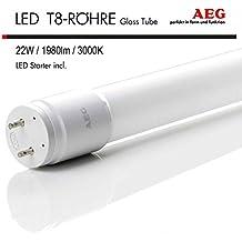 AEG LED Röhre 150 cm ALL-PC T8 TUBE 22W G13 Ersatz für Leuchtstoffröhre Neonröhre 3000K Warm White 1980 Lumen Abstrahlwinkel 240°, inkl. LED Starter, Schlagfest, Splitterschutz, Warmweiß, Nicht Dimmbar