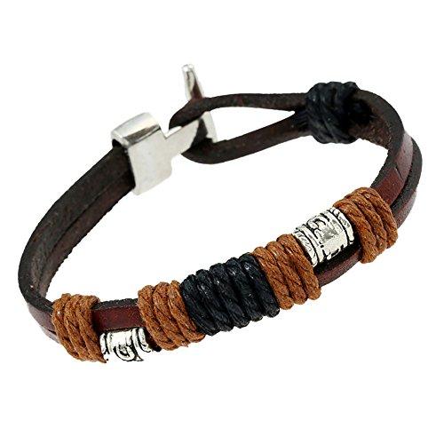Kanggest pulsera brazalete Wrap trenzado hebilla de aleación de piel de vaca auténtica hecho a mano pulsera cuerda de mano joyas regalo para hombres