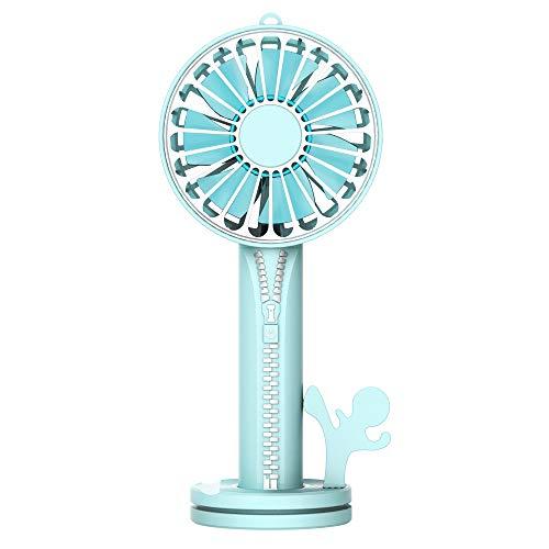zx zxyUsb-Handheld Fan Kosmetik Spiegel Portable Externe Halterung Basis Geräuschlos blau -