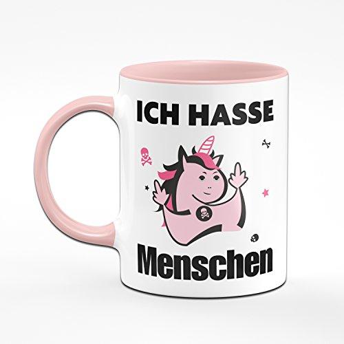 Ich Hasse Menschen Kaffeetasse mit Einhorn in Pink - Lustige Tasse - 2