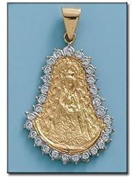 LIOR -Colgante -Medalla Virgen Rocio - Circonita Oro de Ley 18k (750)