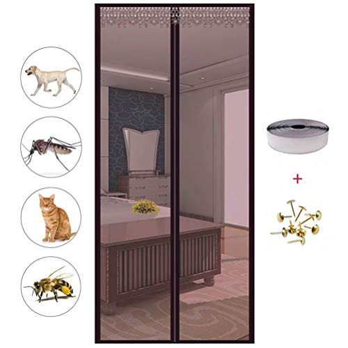 Wohnzimmer Fliegengitter balkontür, Magnetischer Fliegenvorhang Moskitonetz, Auto Schließen, magnetische Adsorption, Luft kann frei strömen, Säugling und Sommer müssen,Brown,90cm*230cm -