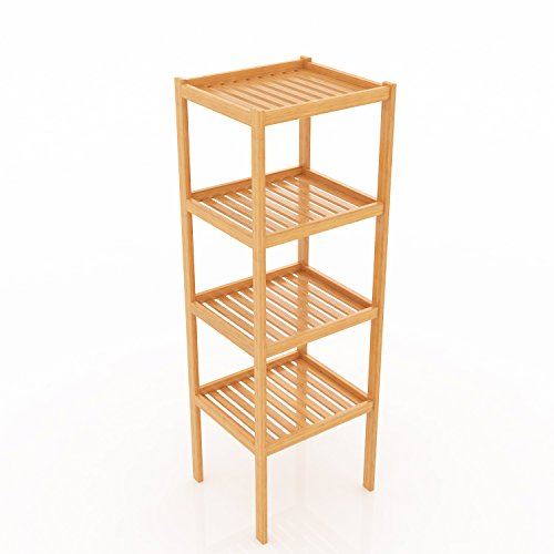 Ncient Badregal mit 4 Ablagen Eckregal Duschablage Duschecke Duschkorb für sämtliches Duschzubehör Duschregal aus Bambus