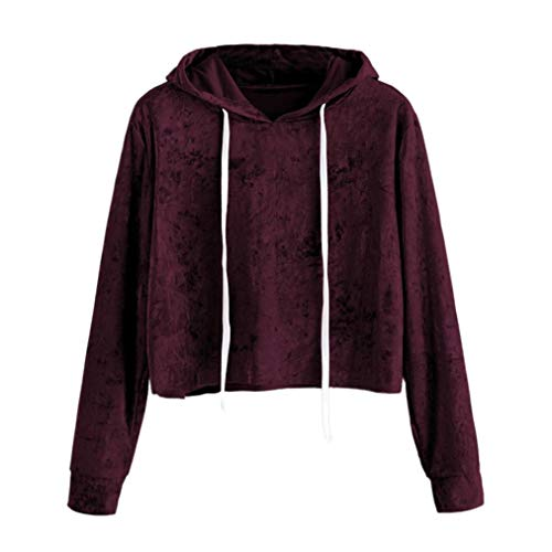 VEMOW Herbst Frühling Damen Langarm Hoodie Sweatshirt Pullover mit Kapuze beiläufige Tägliche Training Lose Pullover Tops SAMT Bluse(Y1-Weinrot, EU-38/CN-M)
