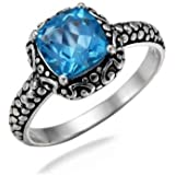VirJ 925 Sterling Silver Blue Topaz Ring