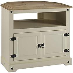 Mercers Furniture Corona Meuble TV d'angle, Bois, crème/Pin Antique
