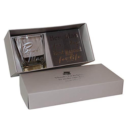 Whiskyglas und Untersetzer - Hochzeitsgeschenk in Geschenkbox - Best Man 9599