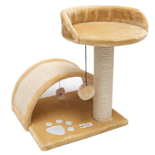 eyepower Tiragraffi per Gatti Cindy ca 44 x 44 x 44 cm | Graffiatoio in sisal naturale | rivestimento di soffice peluche | gioco per arrampicarsi affilarsi le unghie riposare giocare | Beige - Torre Panoramica