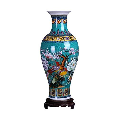 """ufengke Jingdezhen Große Fishtail Keramik Bodenvase,Blumenvase,Handgefertigte Dekorative Vase für Hause,Höhe 18.11\""""(46cm) Blau"""