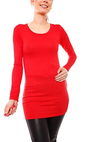 Damen Langarm T-Basic Shirt Lang Longshirt Langarmshirt Unterziehshirt Minikleid Unterkleid Rundhals Uni Rot S/M (Jersey Langes T-shirt Extra)
