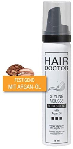 Hair Doctor Styling Mousse Extra Strong mit Arganöl Volumen Schaumfestiger Extra Starker Halt Reisegröße 75 ml