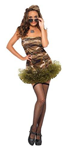 eid Kostüm Militär Army tarnfarbend militärfarbend Minikleid (Militär Themen Kostüme)