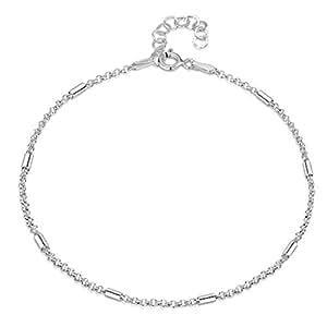 Amberta Gioielli - Catenina da Caviglia Argento Sterling 925 - Modello Ancora con Perline 1,4 mm - Regolabile da 22 a 25,5 cm - Misura Flessibile