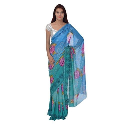 Saundarya Sarees Women Chiffon Printed Blue and Green Saree