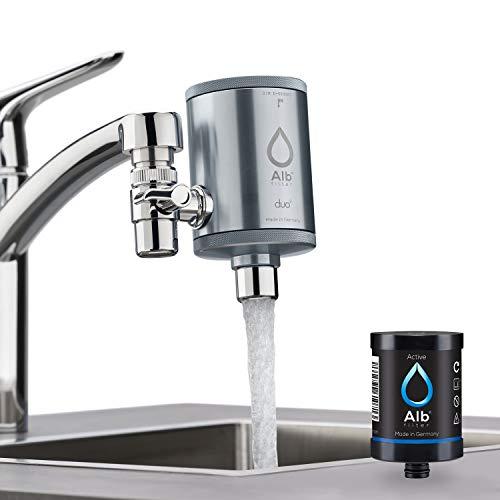 Set Duo (Alb Filter® Duo Active Trinkwasserfilter   Armatur Anschluss   Filtert Schadstoffe, Chlor, Blei, Pestizide, Mikroplastik   Set mit Gehäuse und Kartusche   Made in Germany Titan)