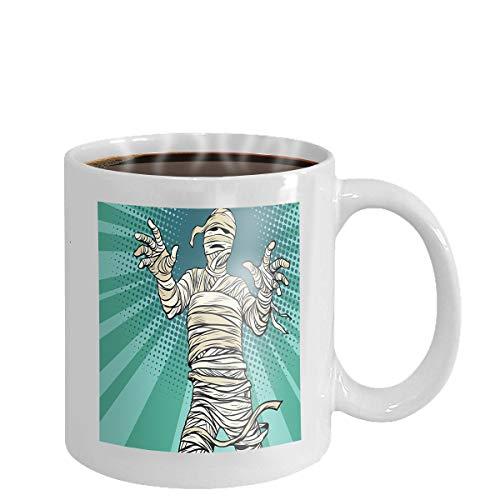 Coffee cup mug vintage egyptian mummy horror movie halloween pop art retro vector illustration 11oz