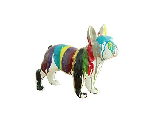 Bulldog Französisch Statue moderne Kunst, Mehrfarbig–Design Deko