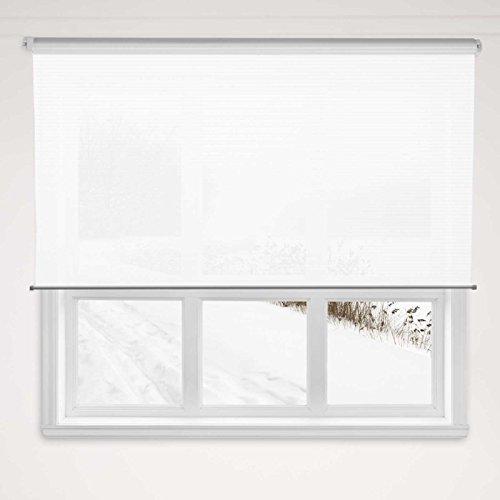 casa pura® Rollo Deluxe Stripe White | blickdicht & lichtdurchlässig | Klemmrollo für Fenster, auch ohne Bohren anbringbar | mit Metallschiene und -kette | 9 Größen