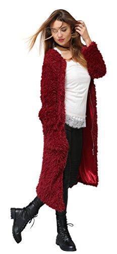 Flauschiger Maxi Designer-Mantel by Sassyclassy | Damen Übergangs-Mantel mit Reißverschluss & Seiten-Taschen | Leicht & Soft für angenehmen Trage-Komfort | M-L | Langer Plüsch-Mantel in Dunkel-Rot (Blazer Femininer)