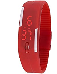 Styllent Presents Red Color Unisex Silicone Digital LED Band Wrist Watch For Boys, Girls, Men, Women
