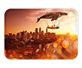 LuckMats Doormat Whale I Believe I Can Fly Theme with Whale Flying with Old Airship in Town Urban Scenery Dark Orange