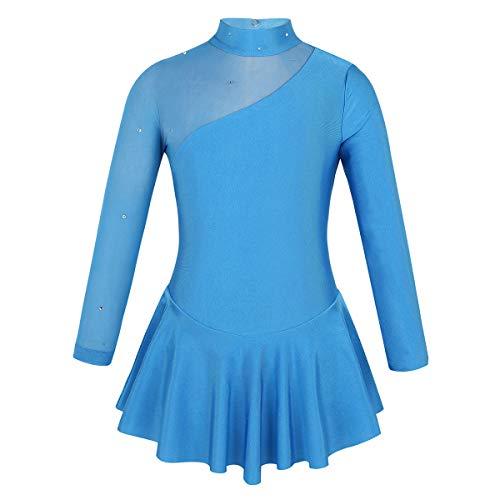 Iefiel bambine vestito pattinaggio sul ghiaccio per ragazze artistico concorso di pattinaggio di figura maniche lunghe abito pattinato da ragazza body di danza 4-12anni blu 6anni