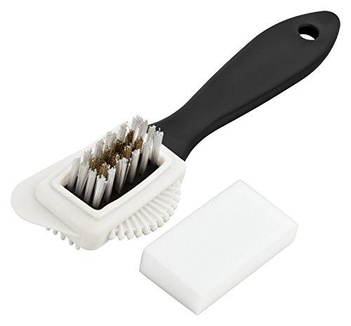 Premium Wildlederbürste - inklusive 4 Schmutzradierer - hochwertige Wildlederbürste - optimale Velourlederbürste um Ihre hochwertigen Schuhe zu putzen (Schwarz)  -