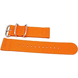 DaLuca Two Piece Ballistic Nylon NATO Watch Strap - Orange : 22mm
