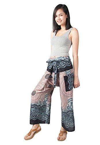 Lofbaz Damen Thai Fisherman weites Bein Hosen Design #1 Weiß