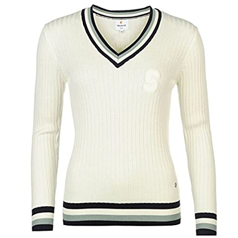 SoulCal Womens Sweater Knit Pullover Long Sleeve V Neck Top Cream 8 (XS)