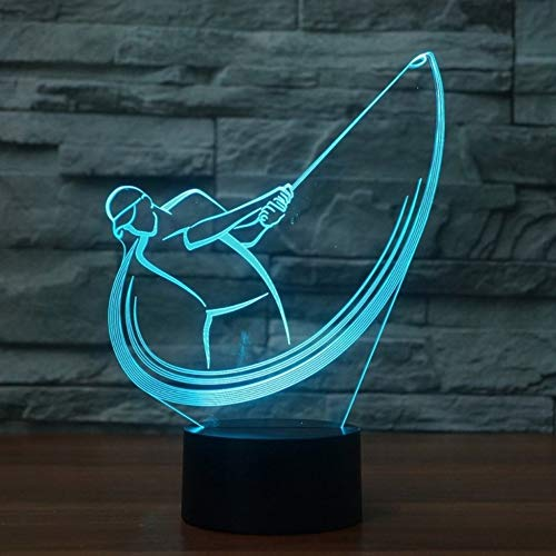Tischplatte-Tischlampe Des Golfschwung-3D, Noten-Schalter-Schlafzimmer-Beleuchtung-Perfektes Geschenk -
