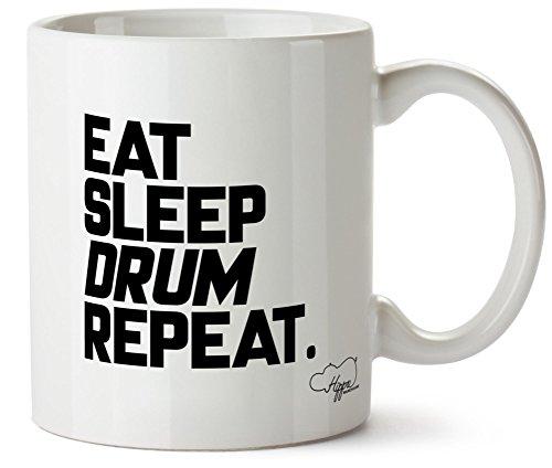 hippowarehouse Eat Sleep Drum Repeat 283,5Tasse, keramik, weiß, One Size (10oz)