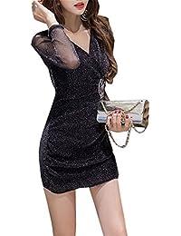 JOTHIN Damen Langarm Glitzer Clubwear V Ausschnitt Kleider Bodycon Pin-up  Festkleid Einfarbige Minikleid Sexy 737461bd04