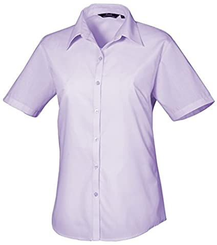Premier Womens Short Sleeve Poplin Blouse - 30 c - Lilac - UK 20 / US 16 / EU 48