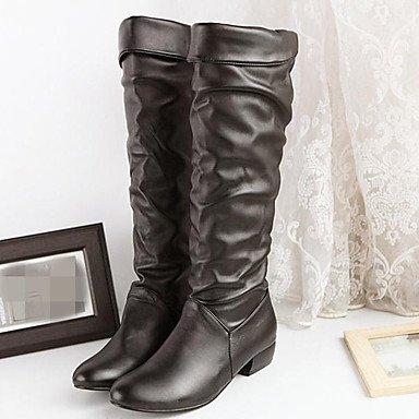 GLL&xuezi Da donna Stivaletti Comoda PU (Poliuretano) Autunno Inverno Casual Basso Bianco Nero 5 - 7 cm black