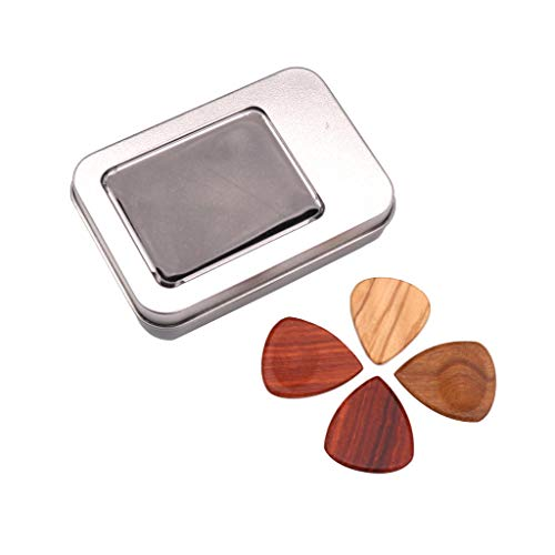 4pcs Wooden Guitar Picks Plectrum Set with Storage Case Accessories for Acoustic/Electric/Wood Guitar Bass Banjo