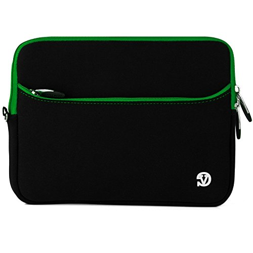 VanGoddy Neoprene Sleeve with Zippered Accessory Pocket for Xiaomi Mi Pad Android Tablet (Black/Green)