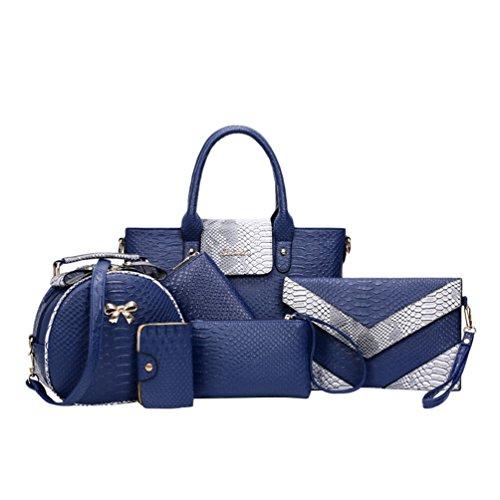 (Kairuun Damen Kunstleder Handtasche Tasche mit Alligator Muster 6 teiliges Set mit Crossbody Tasche und Handtasche Kartentasche)
