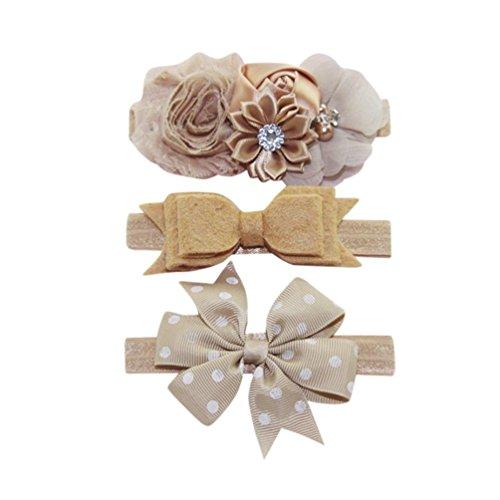 Evansamp 3Haarband für Kinder Mädchen Baby Elastisch Floral Kopfband Haar Polka Dot Schleife Haarband Fotografie-Set Deko, L, 0 to 2 years Old