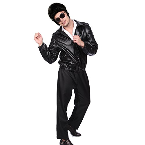 m Leder Look Tasche für Jacke mit gesticktem Logo Danny Vogel-T - Kostüm (Fett Leder Jacke Kostüm)