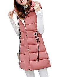 0bebcada79 Damen Weste Lang Mantel Outwear Ärmellose mit Kapuze Steppweste  Wintermantel Vest