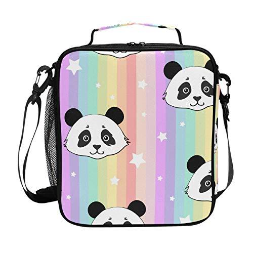 Hunihuni - Bolsa de almuerzo aislada con diseño de panda arcoíris, a prueba de fugas, con correa de hombro ajustable para adultos y niños