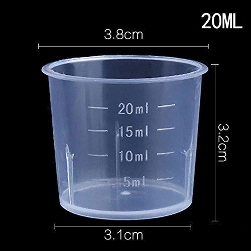 Distinct® 10 stücke 20ml Kunststoff Küche Backen/Labor Messbecher Flüssigkeit Behälter Messen Werkzeuge mit Skala