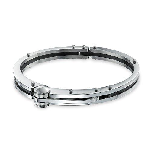Imagen de bling jewelry socio en el crimen maniatar para hombres para mujer de fibra de carbono negro pulsera de acero inoxidable tono plata