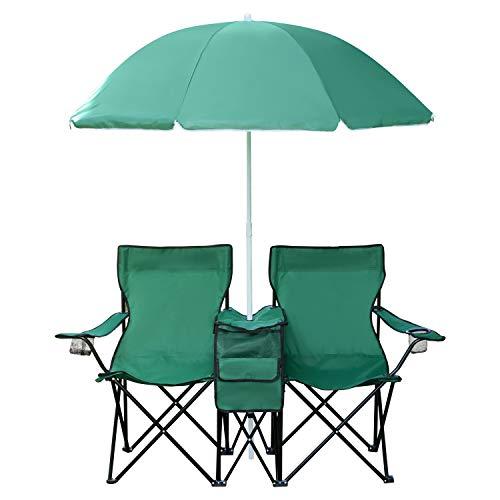 1PLUS 2er Partner Campingstuhl mit Sonnenschirm und Kühlfach in versch. Farben (Grün)