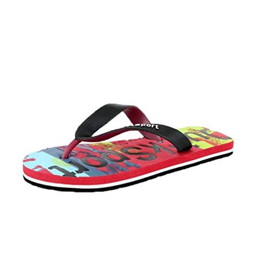 Uomogo® infradito donna/uomo per mare spiaggia antiscivolo casual infradito pantafole coppia shoes colorful (asia 41, rosso)