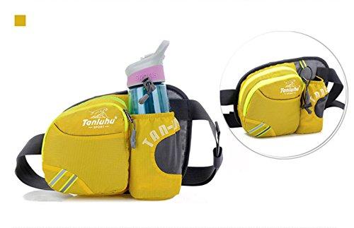 Unisex Wasserdichte Gürteltasche Hüfttasche Bunte Brust-Beutel Beiläufige Beutel mit Wasserflaschenhalter - Rose rot Gelb